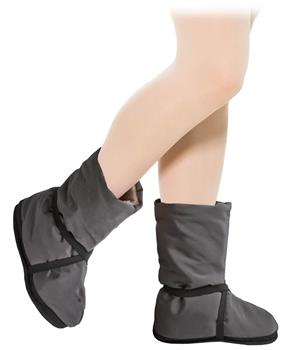 This model is for keeping muscles in tone between performances and rehearsing. It could be put on ballet slippers or Pointe shoes. Boots are made with dense elastics fixing over the ankle.