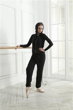 Three quarter length sleeve jumpsuit with a hood