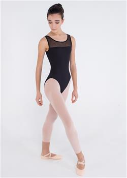 Basic leotard with a mesh paneled front  and a beautiful cutout design on the back