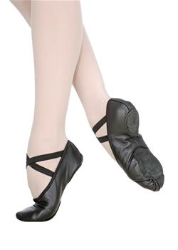 The model has a U-shaped middle vamp, split or full leather sole.
