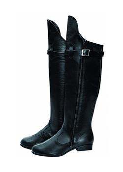 Knee-high leather boots with strap and zipper.