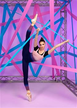 Comfortable unitard for stretching and warm-up rehearsals to warm-up back and legs.