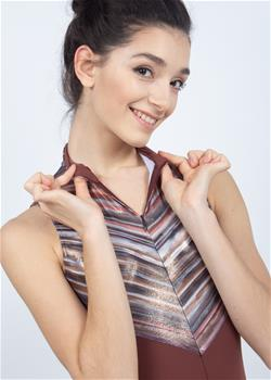 Beautiful zipper front leotard with band-collar. This leotard is made without lining.