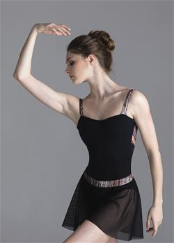Short wrap skirt made of mesh, wide elastic band is made of exclusive sheen stripped polyamide.