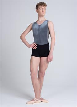 Unitard with front zipper made of grey stretch velour.