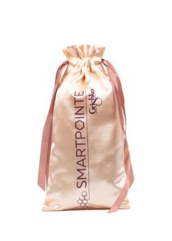 Satin bag to keep pointe shoes safe.