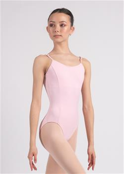 Adjustable strap camisole leotard with lining and pockets for cups